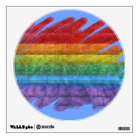 Rainbow Mosaic Gay Pride Flag (Paintbrush) Wall Decal