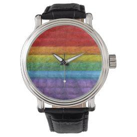 Rainbow Mosaic Gay Pride Flag Wrist Watch