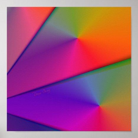 Rainbow Origami – Indigo & Magenta Swirls Poster