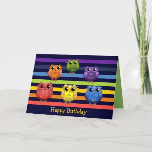 Rainbow Owls Birthday custom Text card