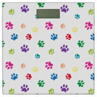 Rainbow Painted Paw Prints Bathroom Scale