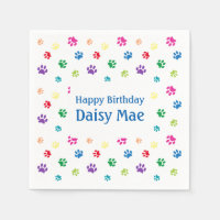 Rainbow Painted Paw Prints Pet Birthday Napkin