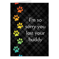 rainbow paws pet loss sympathy card