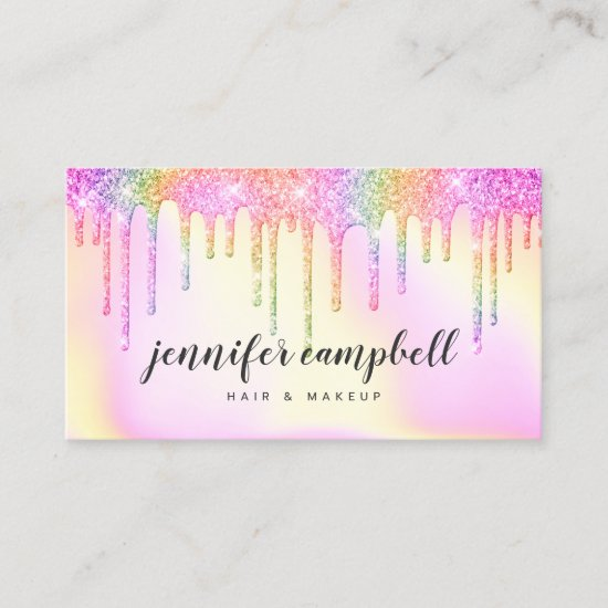 Rainbow pink holographic glitter drips makeup hair business card