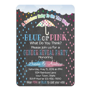 Rainbow Raindrops Gender Reveal Invitation