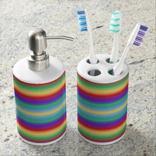 Rainbow Stripes Bathroom Set