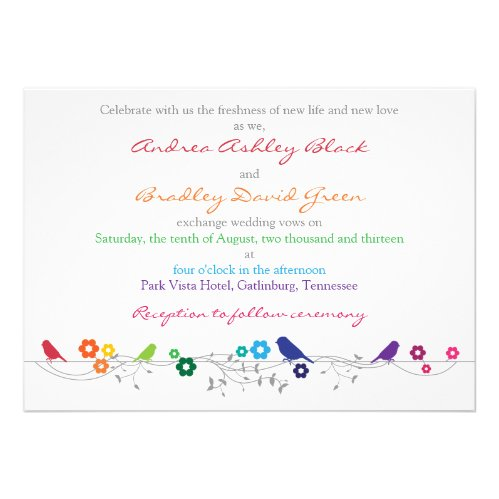 Rainbow Theme Birds Flowers Wedding Invitation