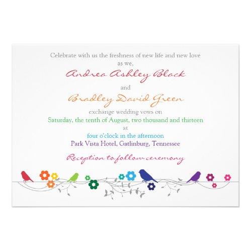 Rainbow Theme Birds Flowers Wedding Invitation