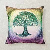 Rainbow Tree of Life by Amelia Carrie Throw Pillow