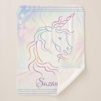 Rainbow Tribal Unicorn Art Design Add Name Sherpa Blanket