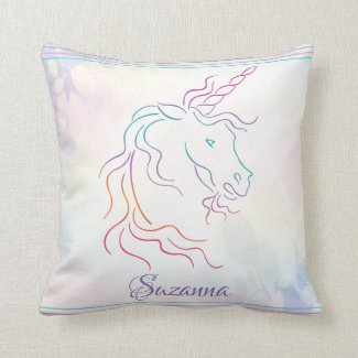 Rainbow Tribal Unicorn Art Design Add Name Throw Pillow