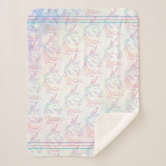 Rainbow Tribal Unicorn Art Design Pattern Sherpa Blanket