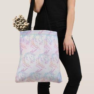 Rainbow Tribal Unicorn Art Design Pattern Tote Bag