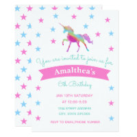 Rainbow Unicorn And Stars Birthday Invitation