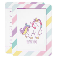Rainbow Unicorn Birthday Party Thank You Notes Card