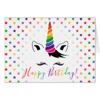 Rainbow Unicorn Happy Birthday Card