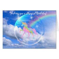 Rainbow Unicorn in Bubble Birthday Card