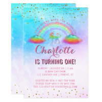 Rainbow Unicorn Watercolor 1st Birthday Party Card