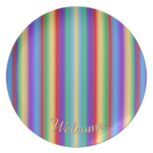 Rainbow Welcome Melamine Plate