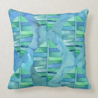 Rainforest Watercolor Leaves Throw Pillow