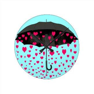 Raining hearts wall clocks