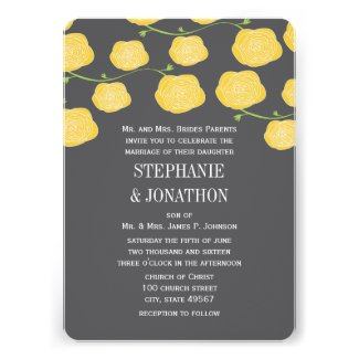 Ranunculus Rose Yellow and Gray Modern Wedding Cards