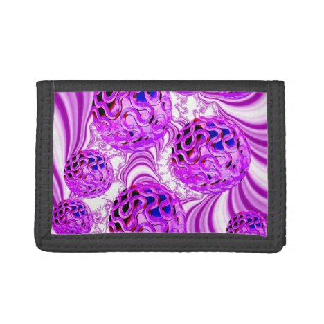 Raspberry Swirl, Abstract Fractal Violet Sherbet Trifold Wallet