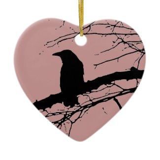 Raven Cracked Heart Ornaments