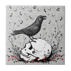 Raven Sings Song of Death on Skull Illustration Ceramic Tile