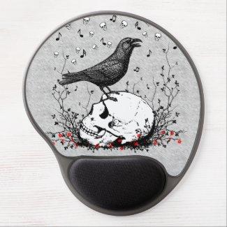 Raven Sings Song of Death on Skull Illustration Gel MousePad