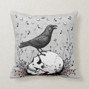 Raven Sings Song of Death on Skull Illustration Throw Pillow