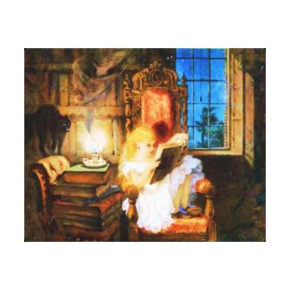 Reading a Wonderland of Books Canvas Prints