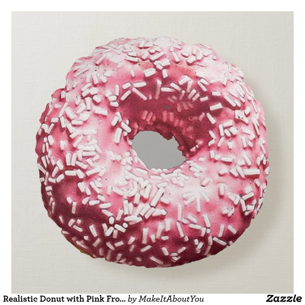 Realistic Donut with Pink Frosting & Sprinkles Round Pillow
