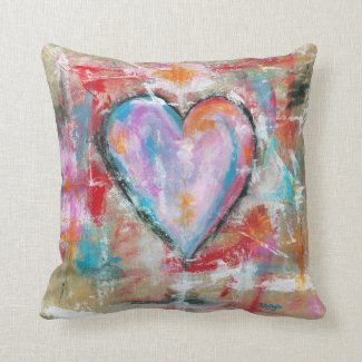 Reckless Heart Abstract Art Painting Home Decor Throw Pillows