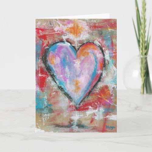 Reckless Heart Abstract Art Painting Pink Red Blue Holiday Card