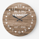 Reclaimed Wood Mr And Mrs Wedding Large Clock