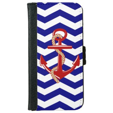 Red Anchor Nautical Chevron Stripes iPhone 6/6s Wallet Case