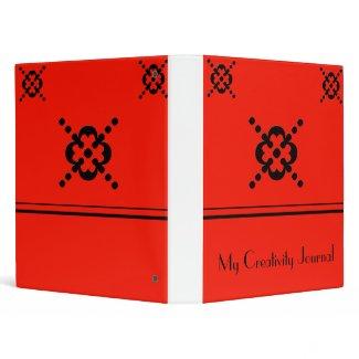 Red and Black Abstract Floral Design Binder binder