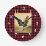 Red And Black Plaid | Farmhouse Rooster Round Clock