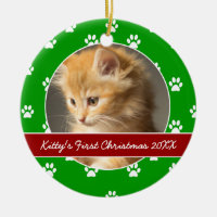 Red and Green Paw Prints Kitty's First Christmas Ceramic Ornament