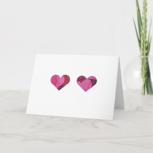 Red and Pink pair of hearts Holiday Card