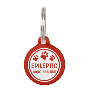 Red And White Epileptic Text With Custom Info Pet Name Tag