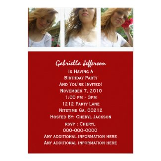 Red And White: Picture Party Invitation
