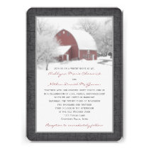 Red Barn in Winter Wedding Invitation 2
