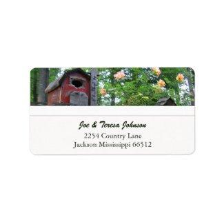Red Birdhouse Address Labels