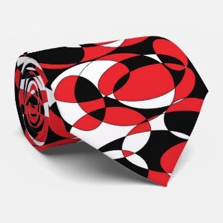 Red, black and white elliptical Tie