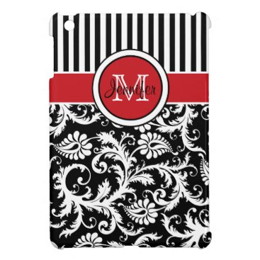 Red, Black, White Striped Damask iPad Mini Case