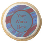 Red Blue Color Swish Abstract Round Shortbread Cookie