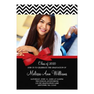 Red Bow Chevron Photo Graduation Announcement