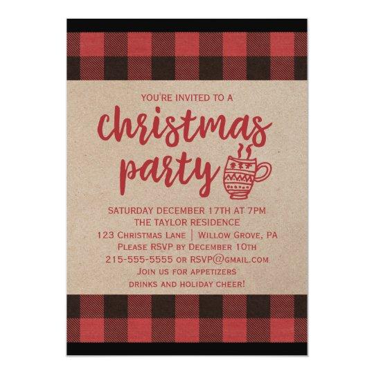 Red Buffalo Plaid Christmas Party Invitation